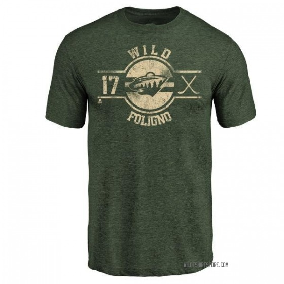 Men's Marcus Foligno Minnesota Wild Insignia Tri-Blend T-Shirt - Green