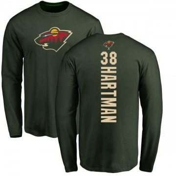 Men's Ryan Hartman Minnesota Wild Backer Long Sleeve T-Shirt - Green