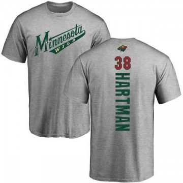 Men's Ryan Hartman Minnesota Wild Backer T-Shirt - Ash