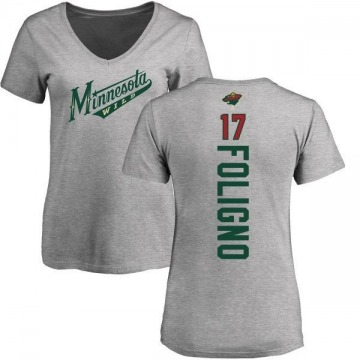 Women's Marcus Foligno Minnesota Wild Backer T-Shirt - Ash