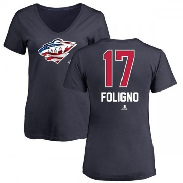 Women's Marcus Foligno Minnesota Wild Name and Number Banner Wave V-Neck T-Shirt - Navy