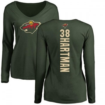 Women's Ryan Hartman Minnesota Wild Backer Long Sleeve T-Shirt - Green