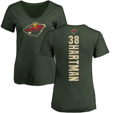 Women's Ryan Hartman Minnesota Wild Backer T-Shirt - Green