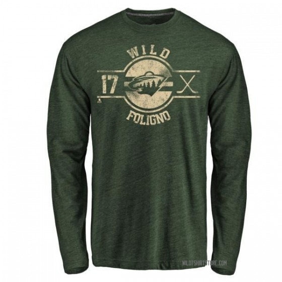 Youth Marcus Foligno Minnesota Wild Insignia Tri-Blend Long Sleeve T-Shirt - Green